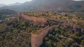 科尔韦拉德拉里韦拉城堡废墟鸟瞰图,西班牙 影视素材
