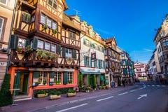 科尔马,法国- 2014年11月8日:科尔马对colorfu的街道视图 免版税库存照片