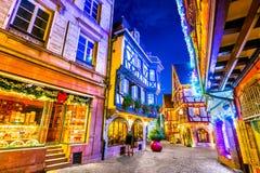 科尔马-圣诞节城市在阿尔萨斯,法国 免版税库存图片