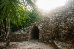 科巴,墨西哥 古老玛雅城市在墨西哥 科巴是一个考古学区域和尤卡坦半岛一个著名地标  免版税库存照片