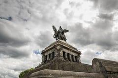 科布伦茨,德国, 2017年6月30日:威廉一世巨大的骑马雕象  库存图片