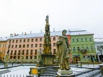 科希策,斯洛伐克- 2016年1月05日:瘟疫专栏 库存照片