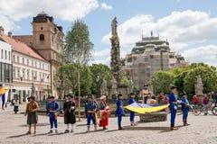 科希策,斯洛伐克- 2016年5月08日:被打扮的宴餐 免版税库存照片