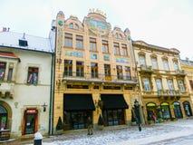 科希策,斯洛伐克- 2016年1月05日:建筑学在老镇 免版税库存照片