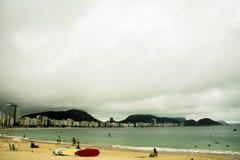 科帕卡巴纳海滩,里约,巴西全景  库存照片