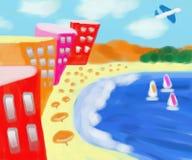 科帕卡巴纳海滩假期摘要绘画 库存图片