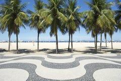 科帕卡巴纳海滩木板走道样式里约热内卢巴西 免版税图库摄影