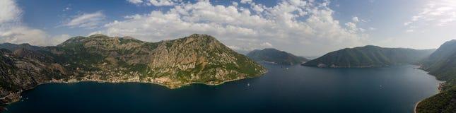 科托尔海湾宽鸟瞰图在黑山 免版税库存图片
