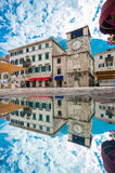 科托尔,有钟楼的大广场 库存照片