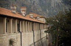 科托尔,黑山镇的墙壁  图库摄影
