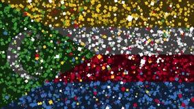 科摩罗的旗子庆祝的生气蓬勃的背景从烟花出现 库存例证