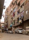 科普特人的基督徒在Zabbaleen垃圾城市贫民窟Manshiyat纳赛尔,开罗埃及 免版税图库摄影