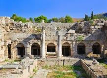 科林斯湾希腊废墟 库存照片
