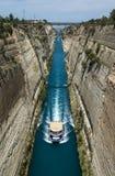 科林斯湾段落运河,希腊 免版税库存照片