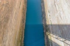 科林斯湾运河的看法在希腊 库存图片