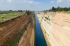 科林斯湾运河,伯罗奔尼撒,希腊 免版税库存图片