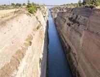 科林斯湾运河,希腊 图库摄影