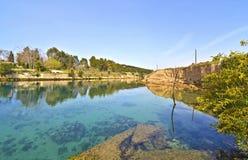科林斯湾运河-科林斯湾地峡希腊 库存照片