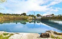 科林斯湾运河-科林斯湾地峡希腊 免版税库存图片