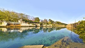 科林斯湾运河-科林斯湾地峡希腊 库存图片