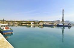 科林斯湾运河Saronic海湾希腊 库存图片