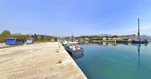 科林斯湾运河Saronic海湾希腊 库存照片