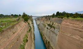 科林斯运河在希腊 免版税库存图片