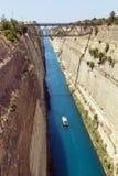 科林斯运河,希腊 免版税库存图片