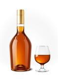 科涅克白兰地瓶例证 免版税库存图片