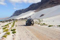 索科特拉岛越野徒步旅行队 库存照片