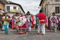 科珀斯克里斯蒂游行的舞蹈家在Pujili厄瓜多尔 免版税库存照片