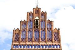 科珀斯克里斯蒂14世纪哥特式教会,门面,弗罗茨瓦夫,波兰 图库摄影