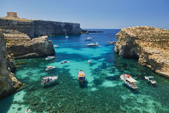 科米诺岛海岛,蓝色盐水湖-马耳他 免版税库存图片