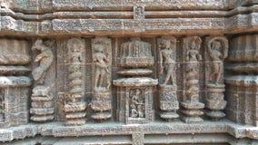 科纳克太阳神庙太阳寺庙-印度的建筑秀丽 免版税库存图片
