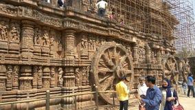 科纳克太阳神庙太阳寺庙-印度的建筑秀丽 免版税图库摄影