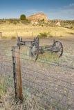 科罗拉多与木无盖货车的农夫领域 免版税库存照片