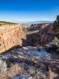 科罗拉多国家历史文物全景从红色峡谷的俯视 免版税库存照片