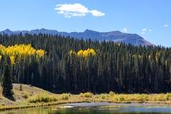 科罗拉多圣胡安山在秋天 免版税库存照片