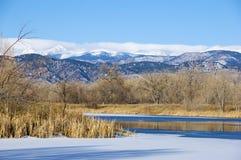 科罗拉多大草原的池塘或湖 免版税库存照片