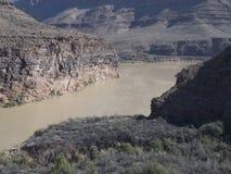 科罗拉多河在从直升机看见的大峡谷 免版税库存图片