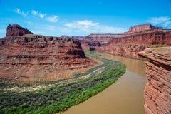 科罗拉多河在Canyonlands N P 犹他 免版税库存图片
