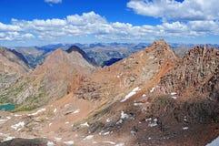 科罗拉多14er、登上Eolus和阳光峰顶,圣胡安范围,落矶山在科罗拉多 免版税库存照片