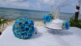 科苏梅尔海滩婚礼 免版税库存照片