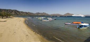 科莫多岛海岛全景和游轮 免版税库存图片