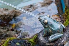 科莫湖, ITALY/EUROPE - 10月29日:黄铜青蛙喷泉在Ma 免版税图库摄影