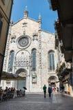 科莫,北意大利- 2017年6月9日:科莫镇的历史的中心  库存图片