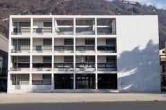 科莫,意大利, 2017年12月15日 Casa del土地设计的Fascio 库存图片
