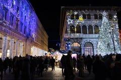 科莫,意大利- 2017年12月28日, :圣诞灯illumina 图库摄影