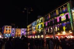 科莫,意大利- 2017年12月28日, :圣诞灯illumina 库存图片