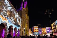 科莫,意大利- 2017年12月28日, :圣诞灯illumina 免版税库存图片